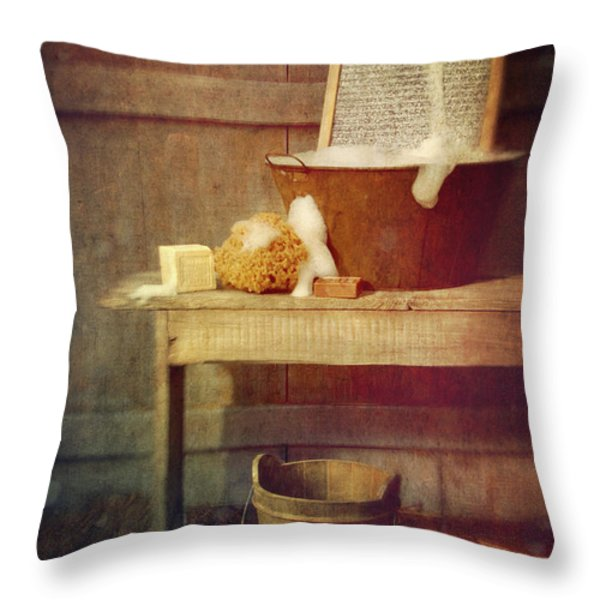 Antique wash tub with soaps Throw Pillow by Sandra Cunningham