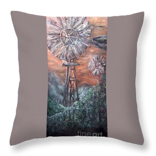 Antique Windmills at Dusk Throw Pillow by Eloise Schneider