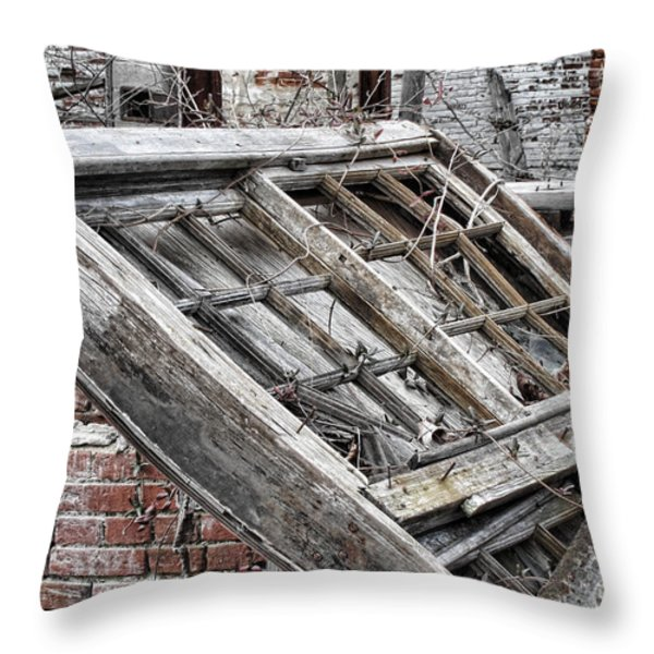 Antique Wood Window Throw Pillow by Olivier Le Queinec
