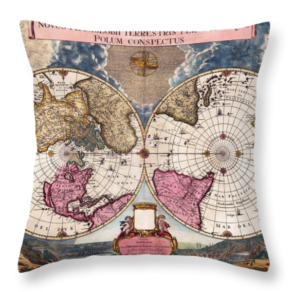 Antique World Map 1695 Novus Planiglobii Terrestris Per Utrumque Polum Conspectus Throw Pillow by Karon Melillo DeVega