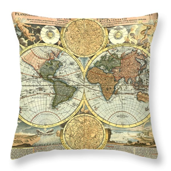 Antique World Mercator Map Throw Pillow by Gary Grayson
