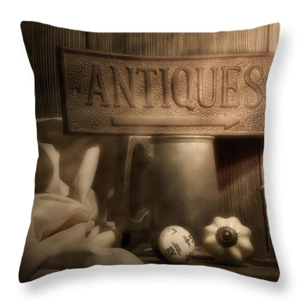 Antiques Still Life Throw Pillow by Tom Mc Nemar