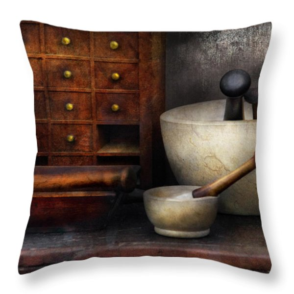 Apothecary - Pestle and Drawers Throw Pillow by Mike Savad