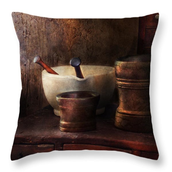 Apothecary - Pick A Pestle  Throw Pillow by Mike Savad