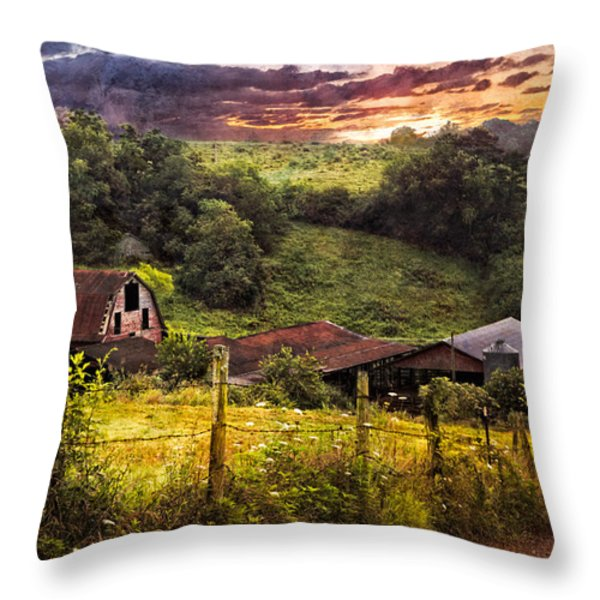 Appalachian Mountain Farm Throw Pillow by Debra and Dave Vanderlaan