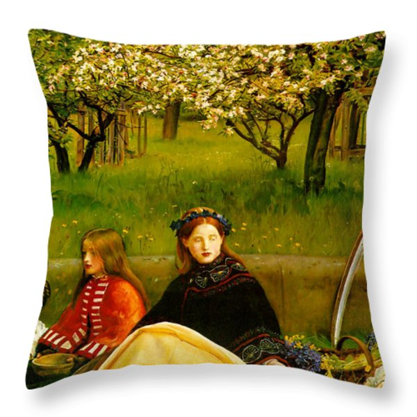Apple Blossoms Throw Pillow by John Everette Millais