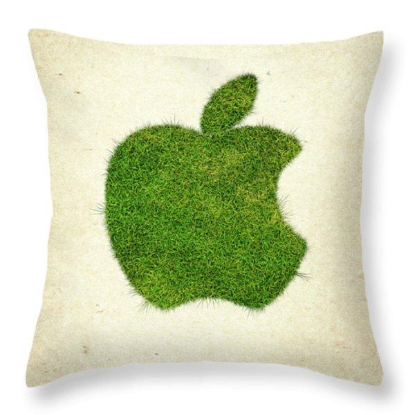 Apple Grass Logo Throw Pillow by Aged Pixel