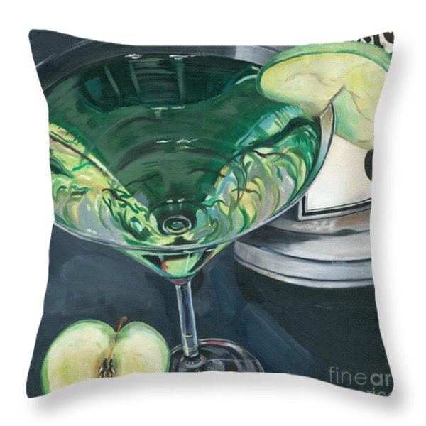 Apple Martini Throw Pillow by Debbie DeWitt