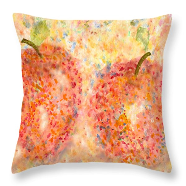 Apple Twins Throw Pillow by Paula Ayers