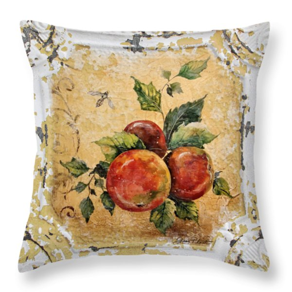 Apples And Bee On Vintage Tin Throw Pillow by Jean Plout