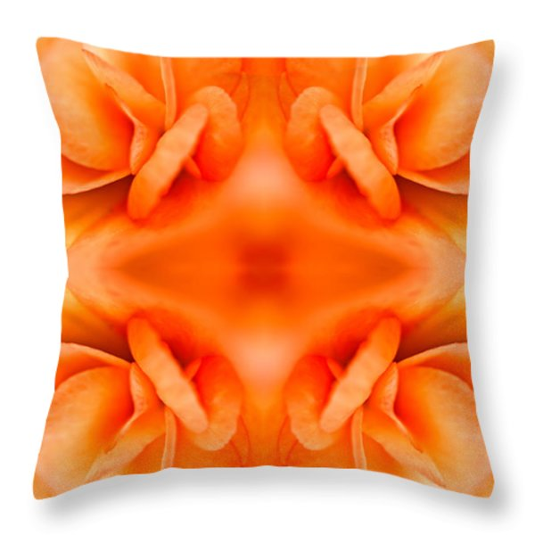 Apricot Begonia Throw Pillow by Onyonet  Photo Studios