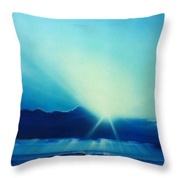 'Aqua Earth' Throw Pillow by Christian Chapman Art