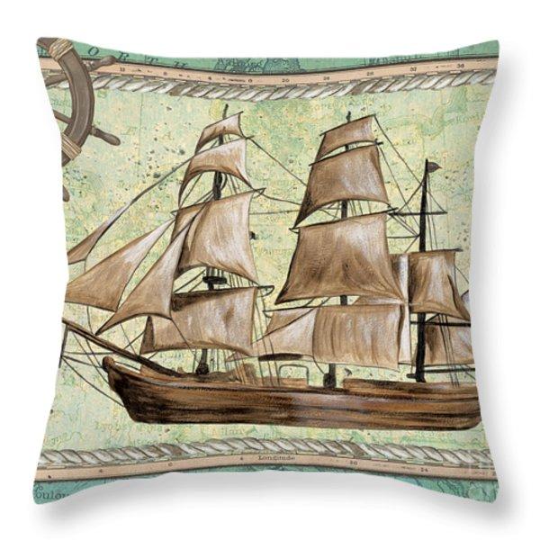 Aqua Maritime 1 Throw Pillow by Debbie DeWitt