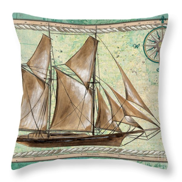 Aqua Maritime 2 Throw Pillow by Debbie DeWitt