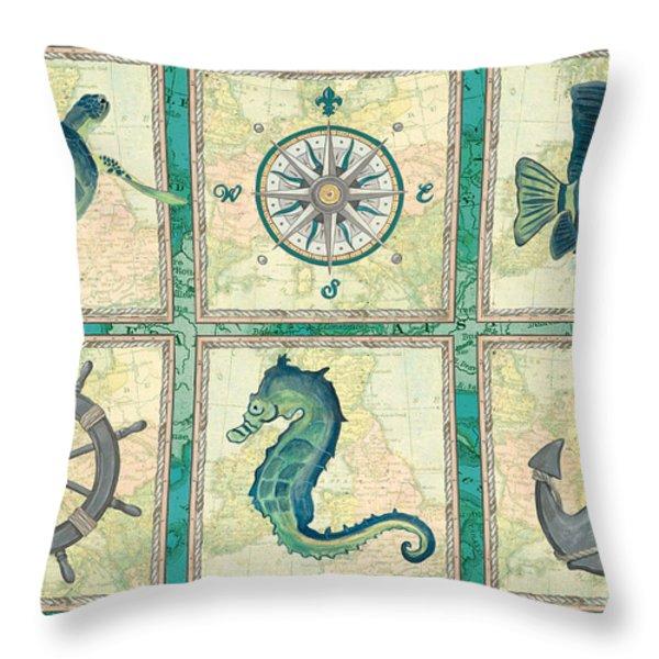 Aqua Maritime Patch Throw Pillow by Debbie DeWitt