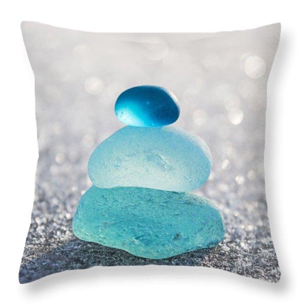 Aquamarine Ice Light Throw Pillow by Barbara McMahon