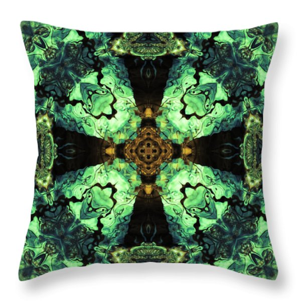 Aquatic Lace 10 Throw Pillow by Shawna  Rowe
