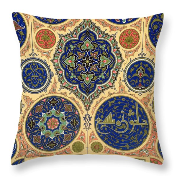 Arabian Decoration Plate Xxvii From Polychrome Ornament Throw Pillow by Albert Charles August Racinet