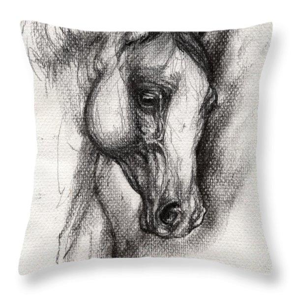 Arabian Horse Drawing 12 Throw Pillow by Angel  Tarantella