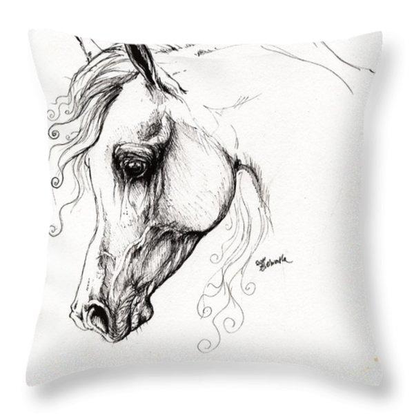 arabian horse drawing 15 Throw Pillow by Angel  Tarantella