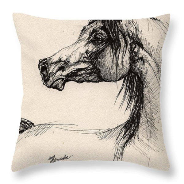 Arabian Horse Drawing 26 Throw Pillow by Angel  Tarantella