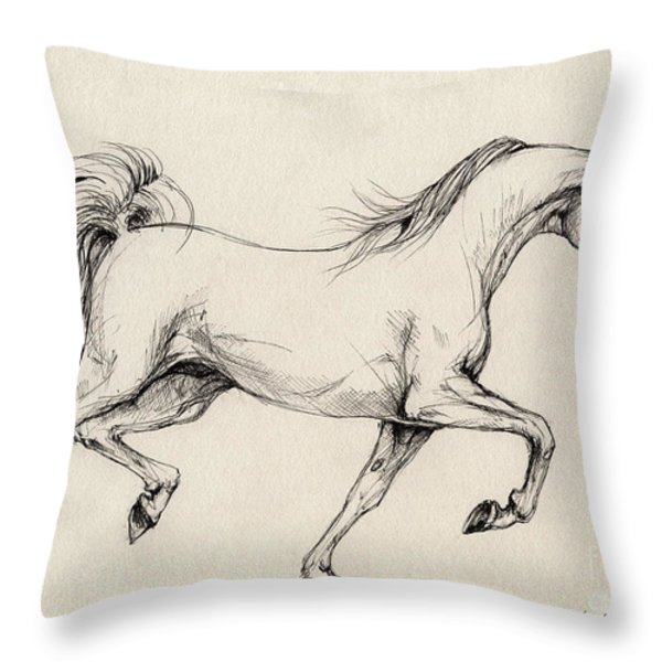 Arabian Horse Drawing 31 Throw Pillow by Angel  Tarantella