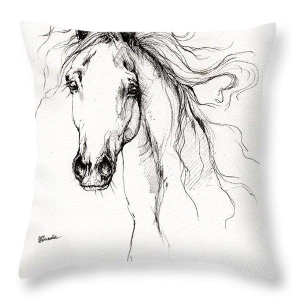 arabian horse drawing 4 Throw Pillow by Angel  Tarantella