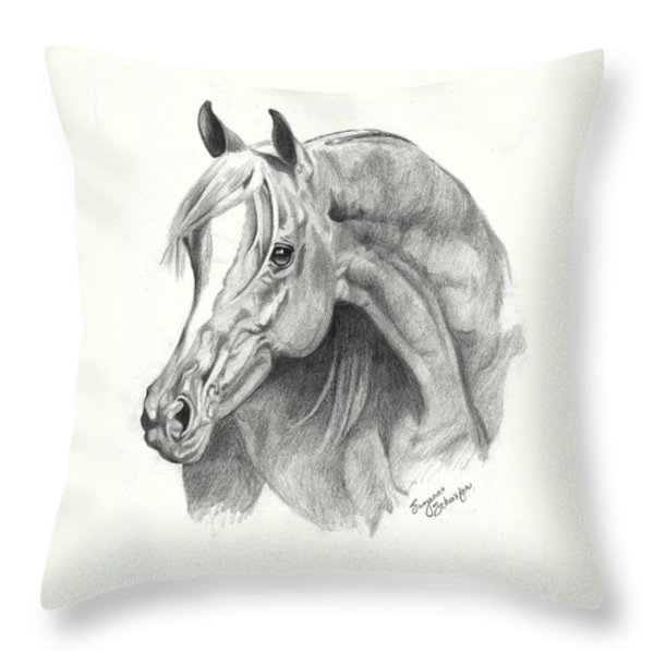 Arabian Stallion Throw Pillow by Suzanne Schaefer