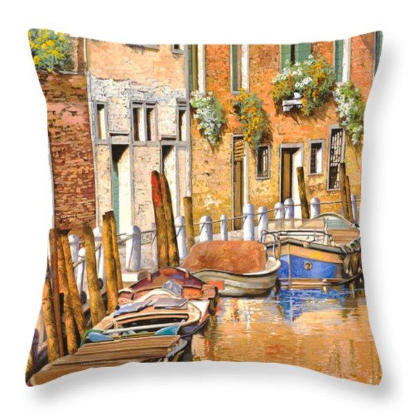 Arancio Sul Canale Throw Pillow by Guido Borelli