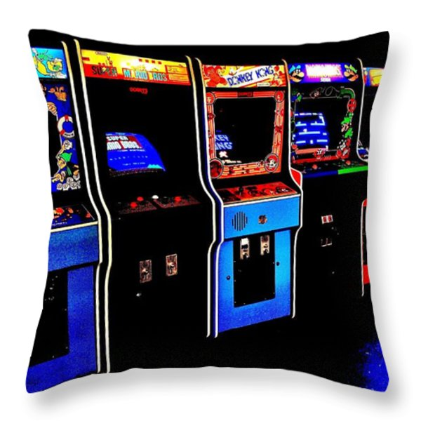 Arcade Forever Nintendo Throw Pillow by Benjamin Yeager