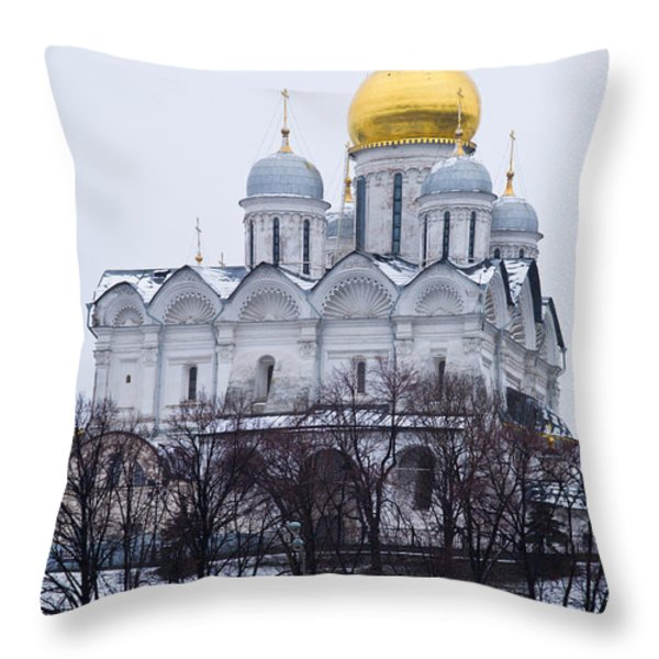 Archangel cathedral of Moscow Kremlin - Featured 3 Throw Pillow by Alexander Senin