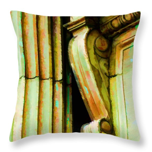 Archatectural Elements  Digital Paint Throw Pillow by Debbie Portwood
