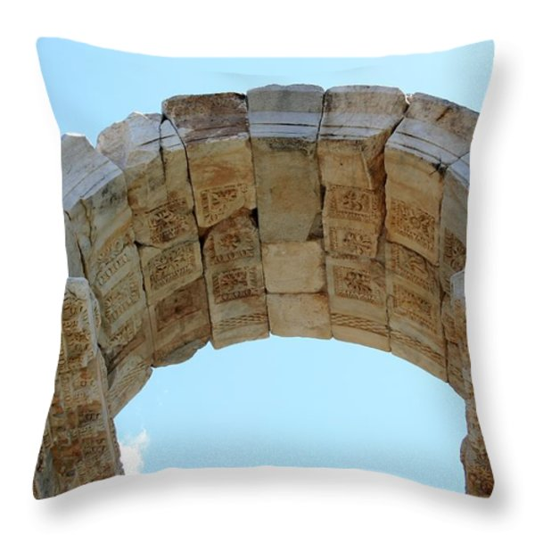 Arched Gate Of The Tetrapylon Throw Pillow by Tracey Harrington-Simpson