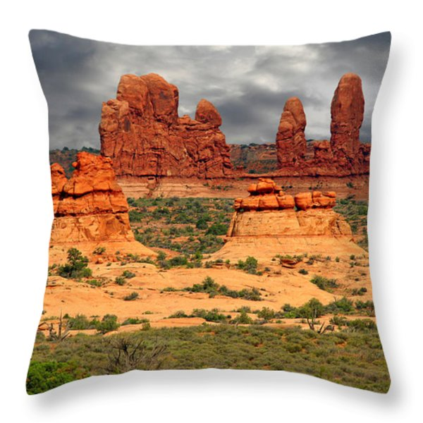 Arches National Park - A Picturesque Drama Throw Pillow by Christine Till