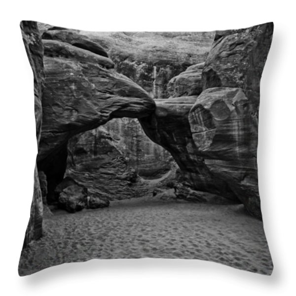 Arches National Park Black And White Throw Pillow by Bob and Nadine Johnston