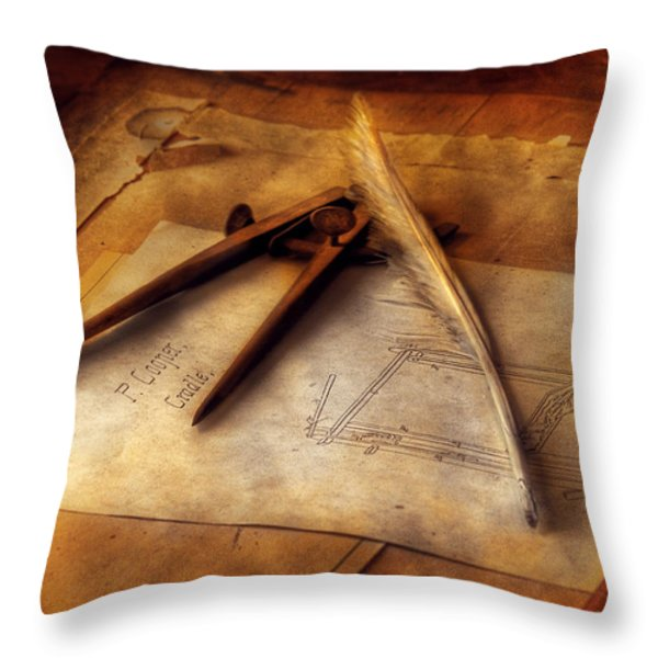 Architect - The Draftsman Throw Pillow by Mike Savad