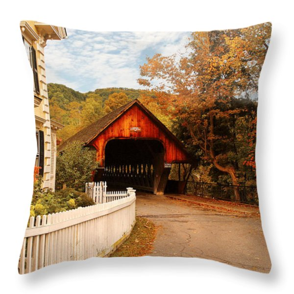 Architecture - Woodstock Vt - Entering Woodstock Throw Pillow by Mike Savad