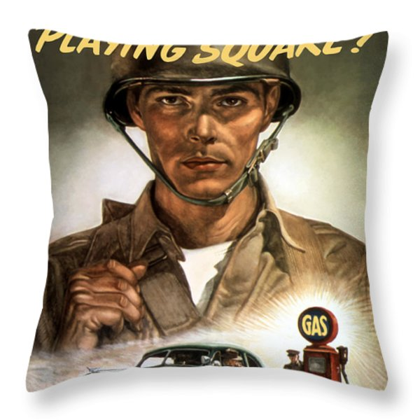Are You Playing Square Throw Pillow by War Is Hell Store