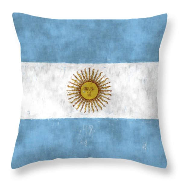 Argentina Flag Throw Pillow by World Art Prints And Designs