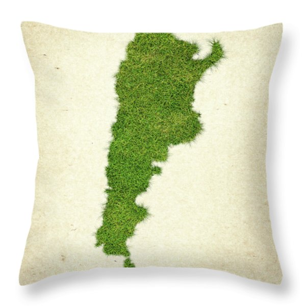 Argentina Grass Map Throw Pillow by Aged Pixel