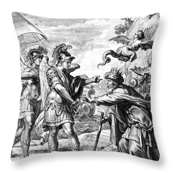 Argonauts Deliver Phineas From Harpies Throw Pillow by Photo Researchers