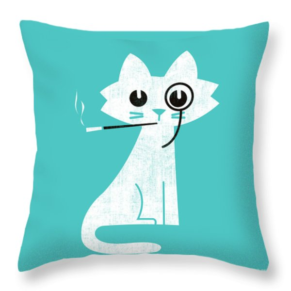 Aristo Cat Throw Pillow by Budi Kwan