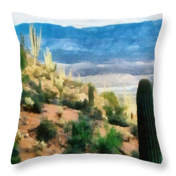 Arizona Desert Heights Throw Pillow by Michelle Calkins