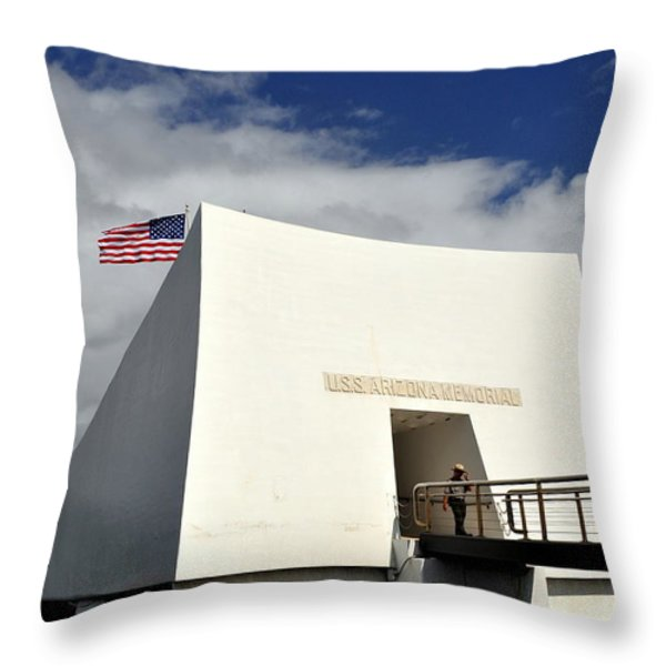 Arizona Memorial Throw Pillow by Caroline Stella