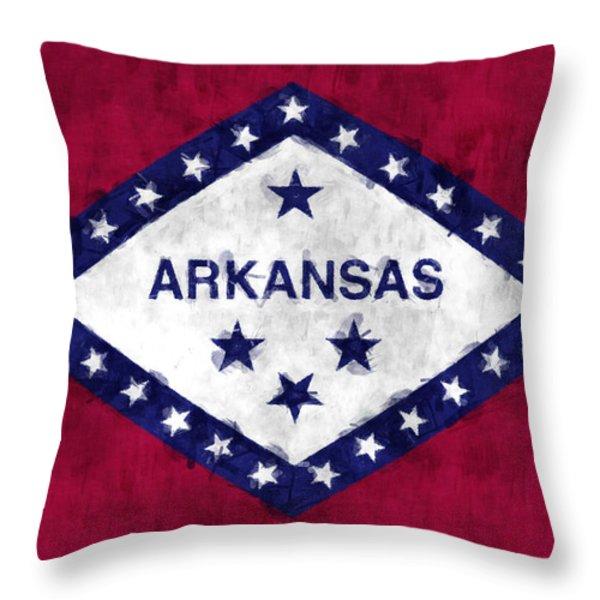 Arkansas Flag Throw Pillow by World Art Prints And Designs