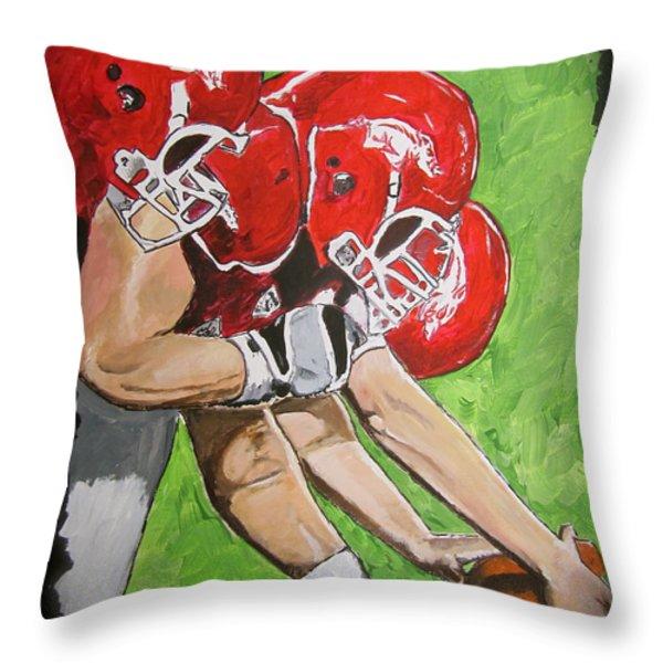 Arkansas Razorbacks Football Throw Pillow by Carol Blackhurst