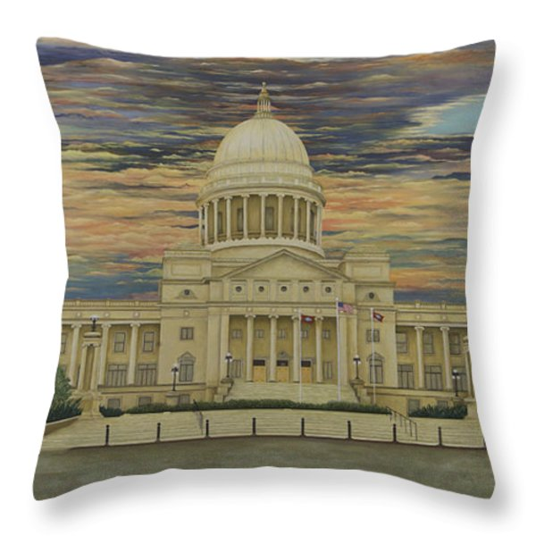 Arkansas State Capitol Throw Pillow by Mary Ann King