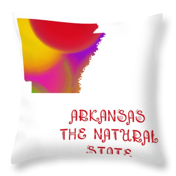 Arkansas State Map Collection 2 Throw Pillow by Andee Design