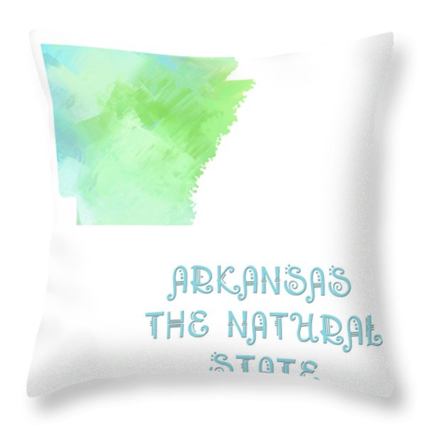 Arkansas - The Natural State - Map - State Phrase - Geology Throw Pillow by Andee Design