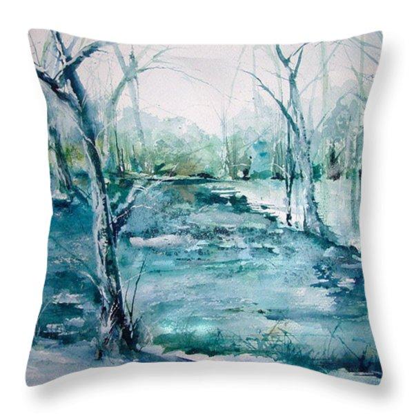 Arkansas Winter Throw Pillow by Robin Miller-Bookhout